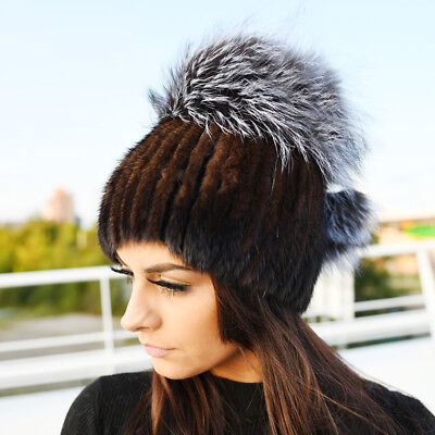 Chocolate Mink Fur Hat With Silver Fox Top ()