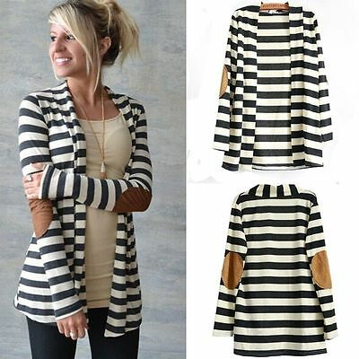 Slim Striped Sweater (Womens Striped Waterfall Cardigan Sweater Long Sleeve Casual Slim Skinny)