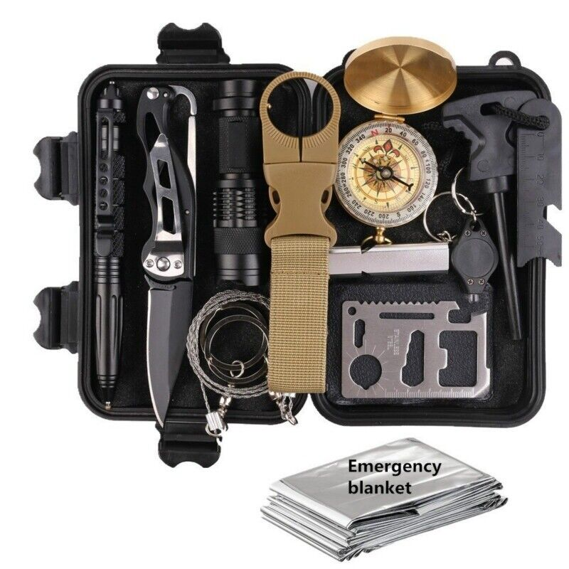 13 in 1 Emergency Camping Survival Equipment Kit Outdoor Tra