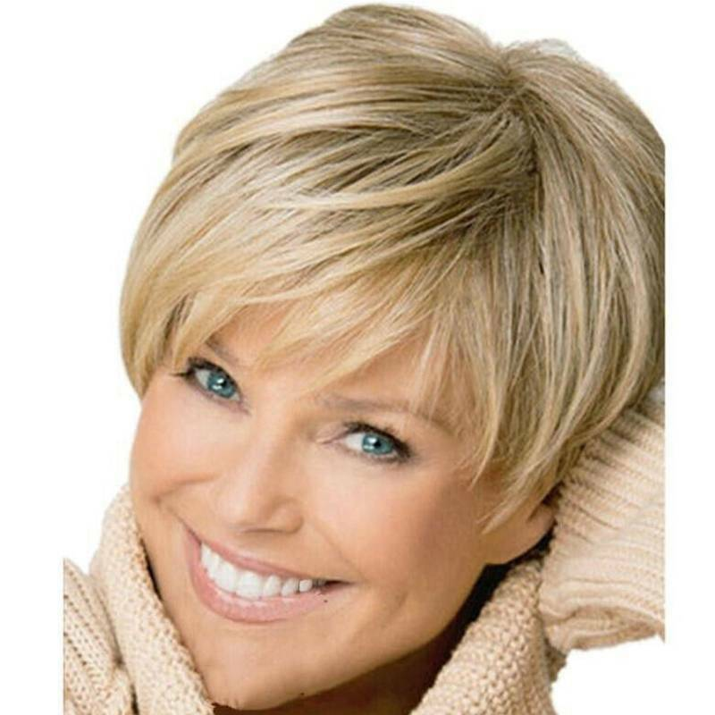 Womens Pixie Bob Ombre Wigs Short Natural Wavy Hair Cosplay Party Prop Full Wig Hair Care & Styling