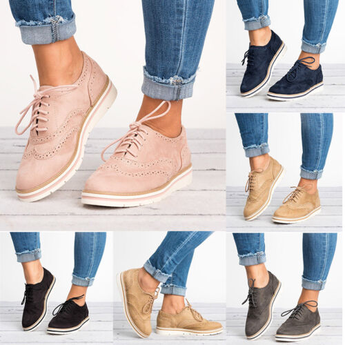 Women Lace Up Casual Shoes WingTip Brogues Oxfords Dress Formal Stitched Flats