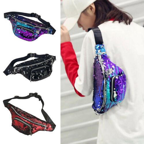 Reversible Glitter Sequin Bum Bag Waist Fanny Pack Travel Mo