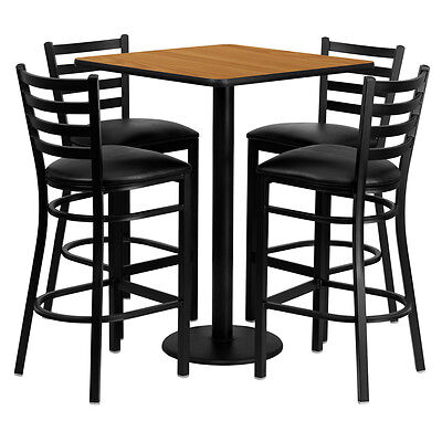 Restaurant Table Chairs 30 Natura Laminate With 4 Ladder Back Metal Bar Stools
