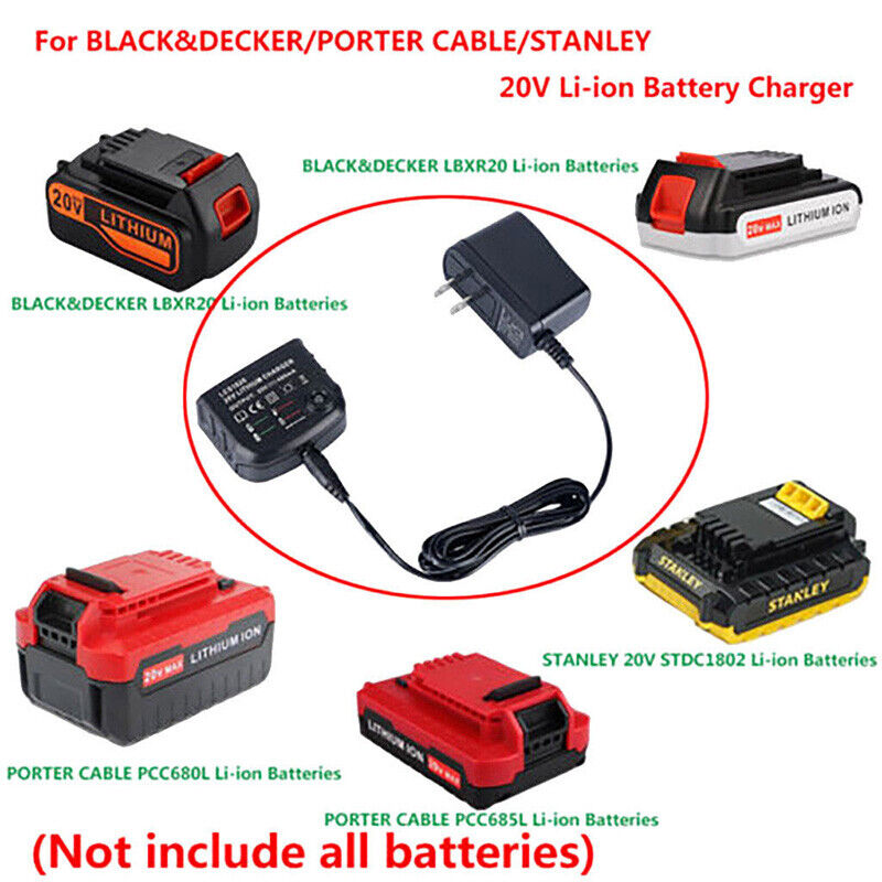 20V Lithium Battery LCS1620 Charger For BLACK+PORTER-CABLE/S