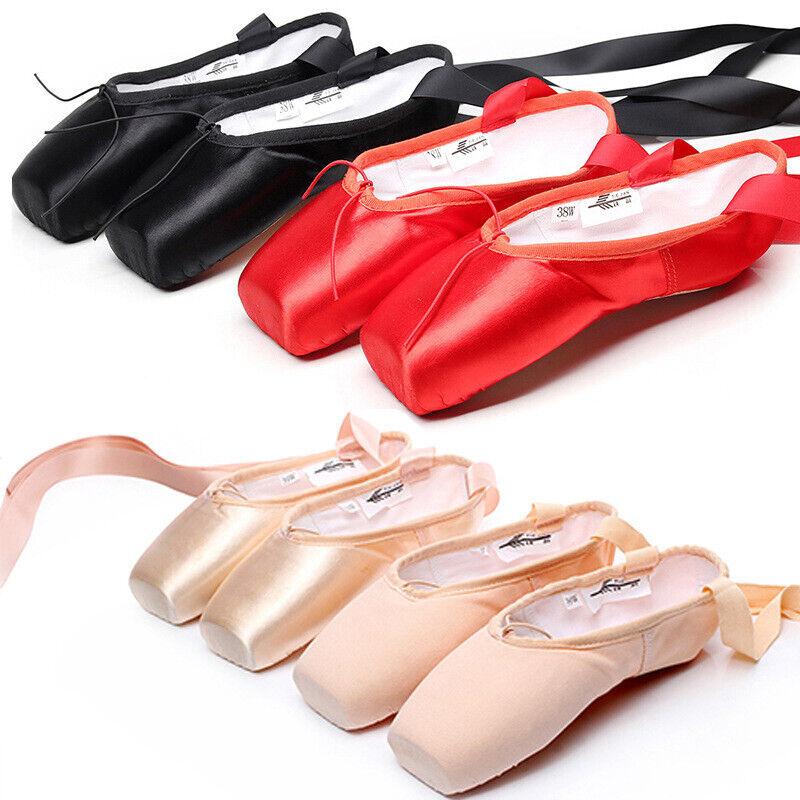 Women Ballet Shoes Dance Slippers Pointe Toe Soft Sole Gymnastics Practice Shoes