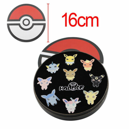 9Pcs/set Pokemon Badge Brooch Eevee Sylveon Eeveelution Metal Pin Collection Box