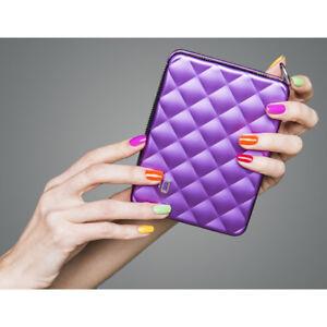 NEW ÖGON Quilted Passport Aluminum RFID Blocking Purple Wallet
