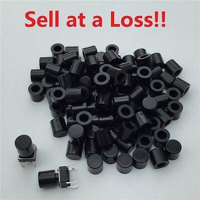 100pcslot Black Plastic Cap Hat 66mm G62 Tactile Push Button Switch Lid Cover