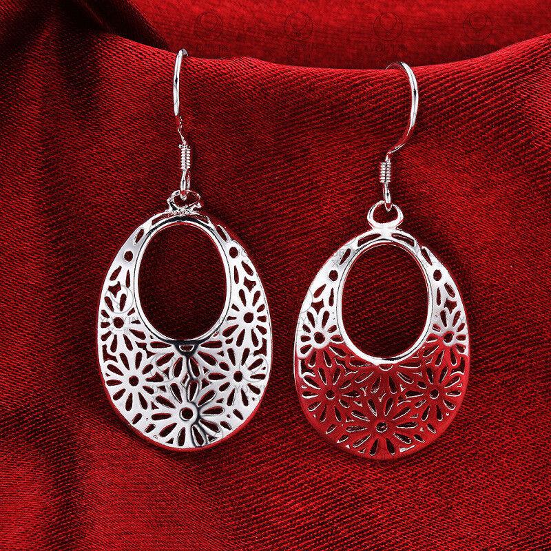 Women 925 Sterling Silver Oval Retro Flower Pattern Drop Dan