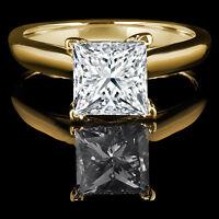 Yellow Gold Diamond Engagement Ring 1.45CT Bague de fiançailles