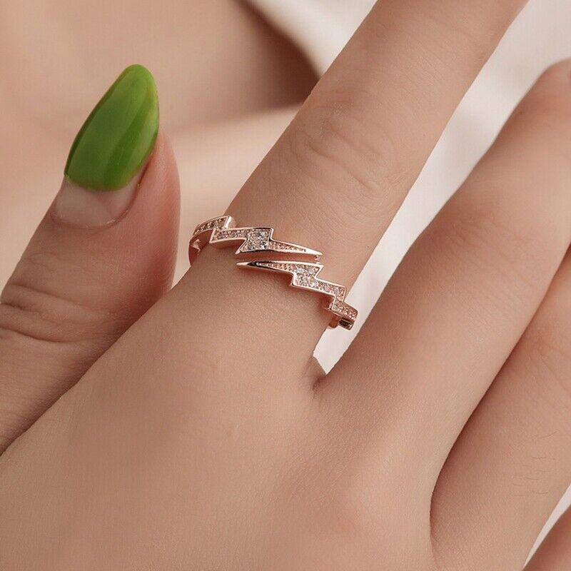 Irregular Geometric Lightning Open Ring for Women Girl Charm