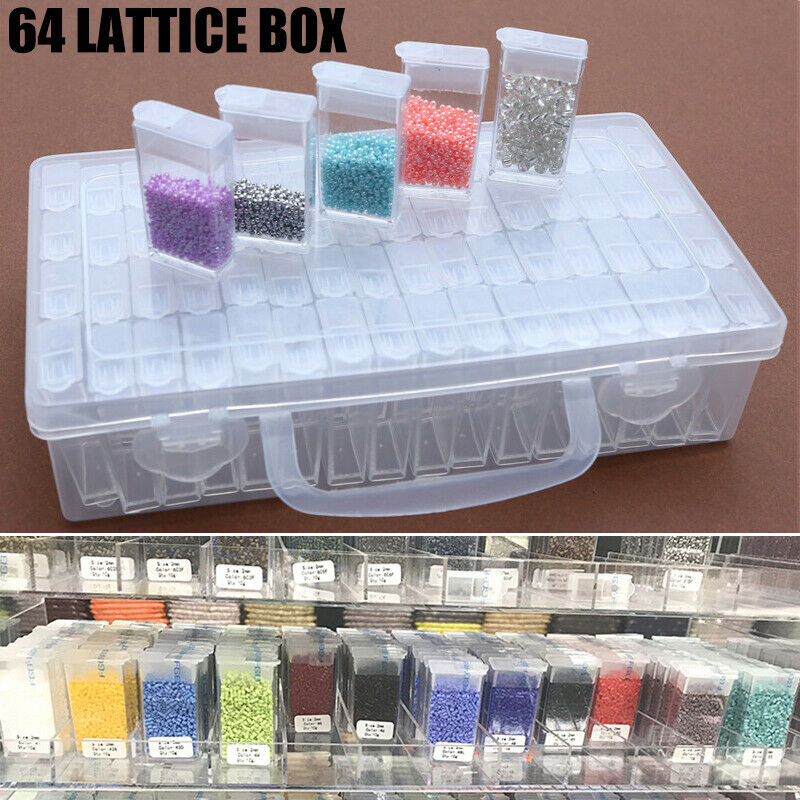 64 Slots Diamond Painting Tool Box Embroidery Geometric Jewe