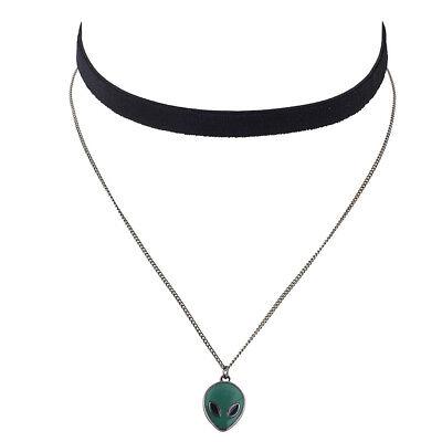 Lux Accessories Hem Tone Alien Head Charm Layered Velvet Suede Choker Necklace