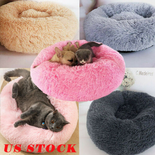 US Fur Donut Cuddler Pet Calming Bed Dog Beds Soft Warmer Me