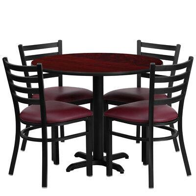 New 36 Round Mahogany Laminate Table Set W 4 Burgundy Red Vinyl Metal Chairs