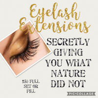 Eyelash Extensions  $50 ~Full Set or Fill~Classic Sets