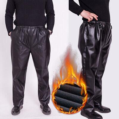 Männer PU Hosen Lose Gerade Winddicht Warme Wasserdichte Arbeitskleidung Hose