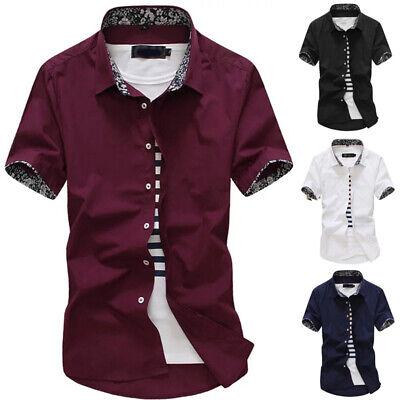 Herren Oberteile Hemden Revers Kragen Top Business Knöpfe T-Shirt Arbeit Hemden