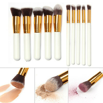 10x Kabuki Style Foundation Professional Contour Face Powder Make up Brushes Set