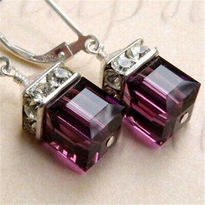 Gemstone Wedding Earrings (Vintage Women Amethyst Gemstone Wedding Engagement Earrings 925 Silver Jewelry )