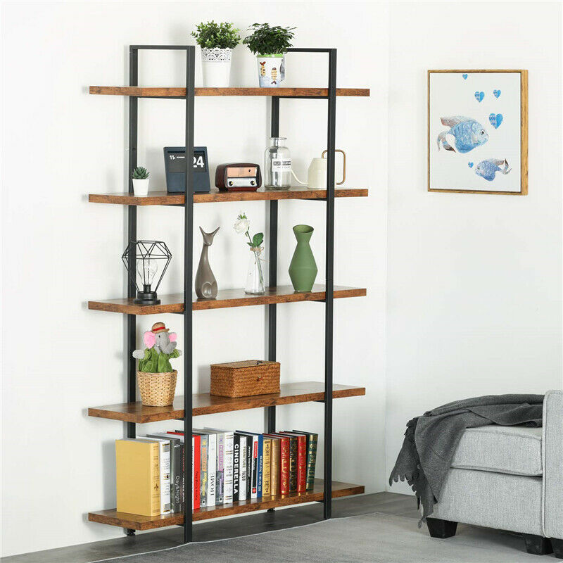 5-Shelf Bookshelf  Storage Open Bookcase Furniture for Home Kitchen Organizer