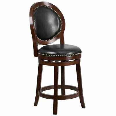 """Pemberly Row 26"""" Leather Counter Stool in Black and Cappucci"""