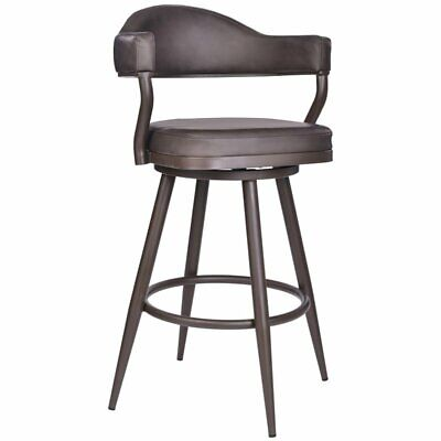 """Armen Living Justin 26"""" Faux Leather Swivel Counter Stool in"""