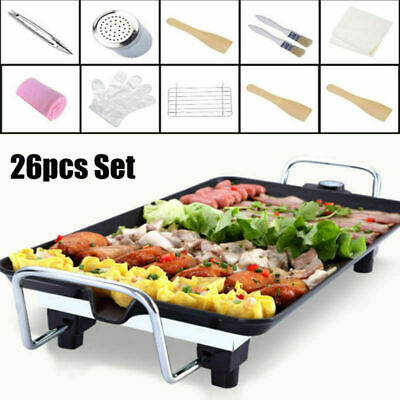 1400W Table Top Grill Electric BBQ Griddle Hot Plate Outdoor Home Healthy Eating