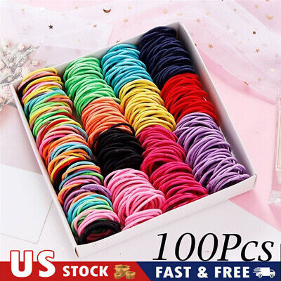 100Pcs Colorful Nylon Elastic Rope Band Round Rubber Sewing Hair Accessories US