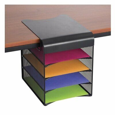 Safco Onyx Solid Top Horizontal Hanging Desk Organizer in Black Horizontal Desk Organizer