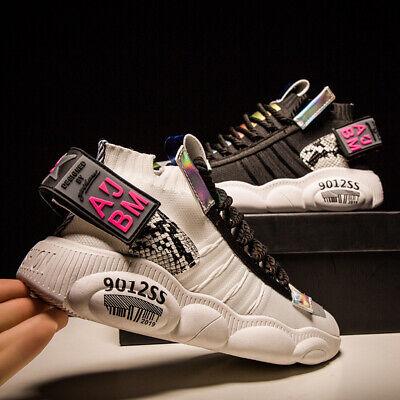 Mens Running Shoes Sneaker High Top Outdoor Sneakers Breathable Sock Shoes Ins - High Top Sneaker Socks