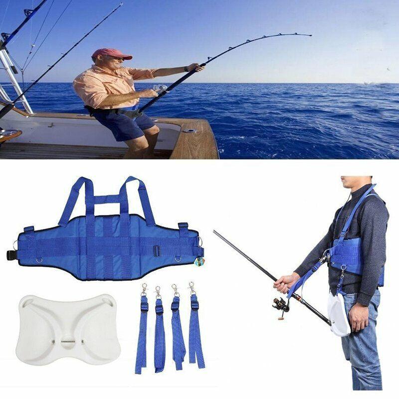 Offshore Boat Fishing Fighting Belt Rod Holder Shoulder Back Harness Vest Belt