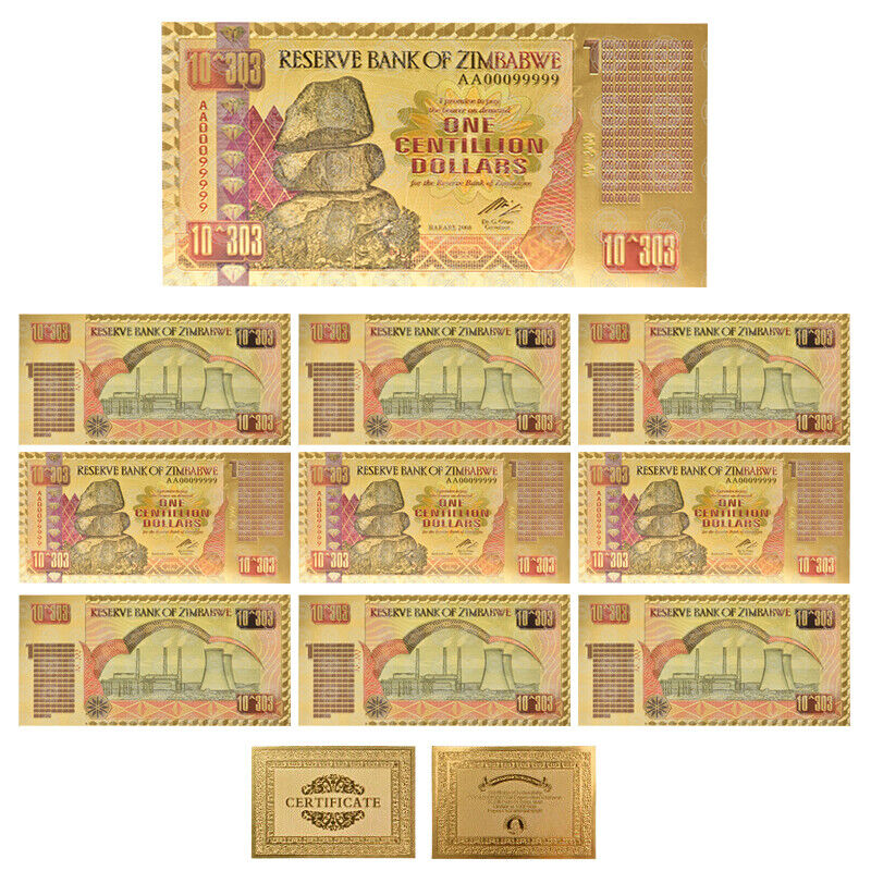 WR 10pcs Zimbabwe One Centillion Dollars Gold Banknote With UV Marks Collection