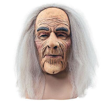 #Creepy Wrinkled Old Man Overhead Mask & Hair Adult Fancy Dress Halloween Horror - Creepy Old Man Mask
