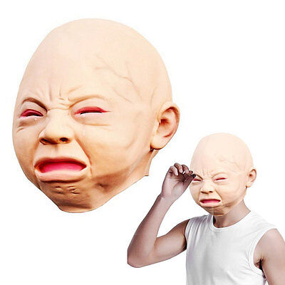 Creepy Cry Baby Full Head Face Latex Scary Mask Halloween Costume Adult - Cry Baby Halloween Costume