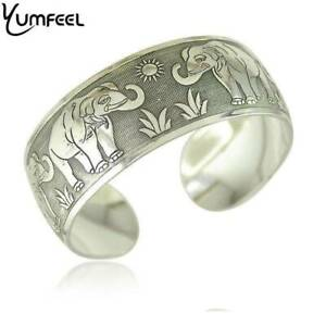 Silver Bohemian Elephant Style 1 Tibetan Carving Cuff Bangle