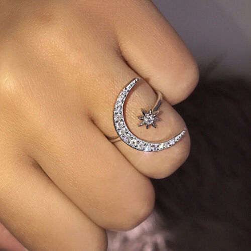 Fashion Silver CZ Moon and Star Rings Women Wedding Jewelry