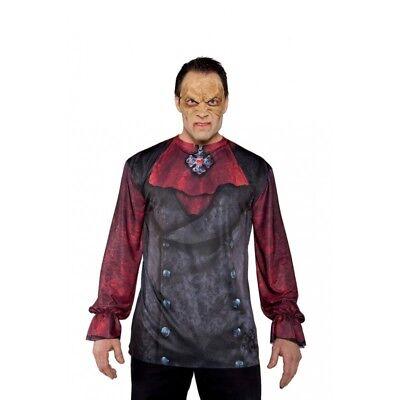 Underwraps Vampir Foto Echt Gothik Erwachsene Herren Halloween Kostüm Hemd 29602