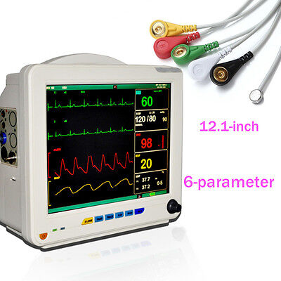 Usa Ccu Icu Patient Monitor 6 Parameter Vital Medical Ecg Nibp Resp Temp Spo2 Pr