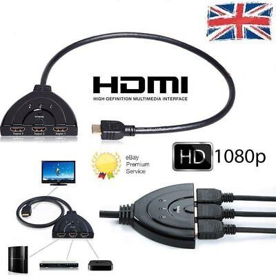 1080P 3 Port HDMI Splitter Cable Multi Switch Switcher HUB Box TV LCD HDTV 3D UK Splitter Tv Hub