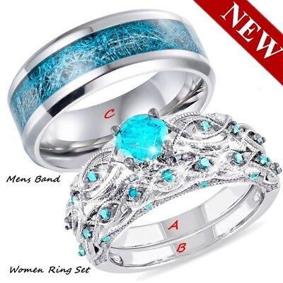 Couple Wedding Ring Aquamarine Womens Ring Set&Titanium steel Mens Bands -
