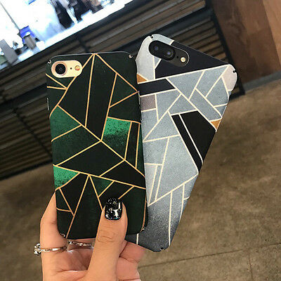 New Fashion Geometric Graphic Hard PC Phone Back Case For iPhone 6 6s 7 8 plus X ()