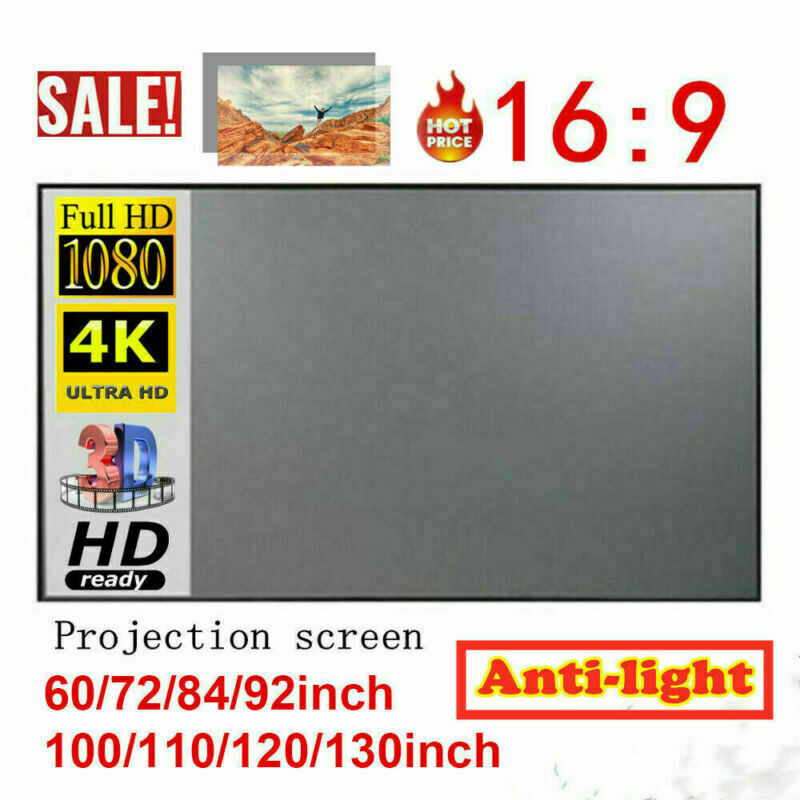 100 in Projector Screen Projection Screen Anti-Light Curtains 3D 4K Home Theater
