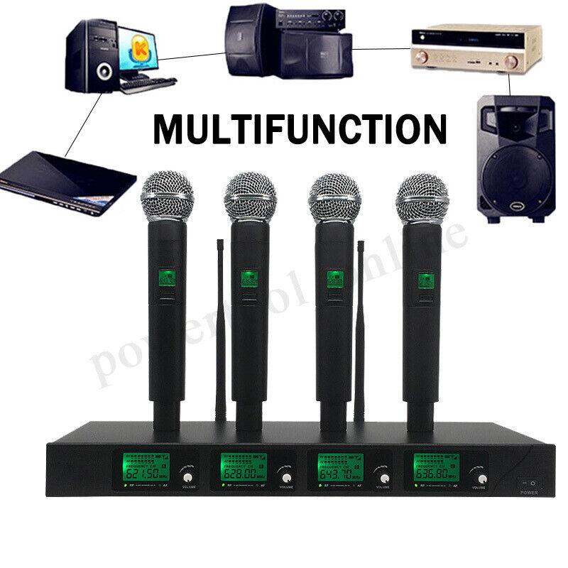 4 Channel UHF Wireless Radio rophone System Digital Display + 4 Handheld
