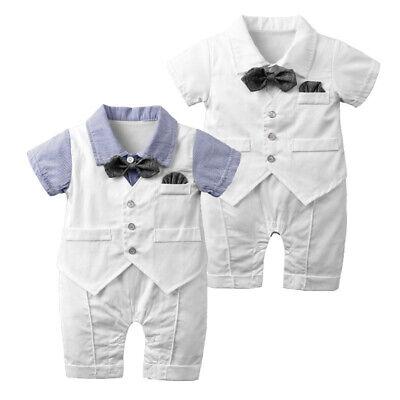 Baby Jungen Hochzeit Taufe Formal Outfit Strampler + Shorts Anzug Tuxedo Overall Tuxedo-overall