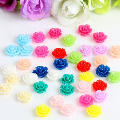 50 Resin Beads Rose Flower Flat Back Embellishment Cabochons Craft Decor DIY