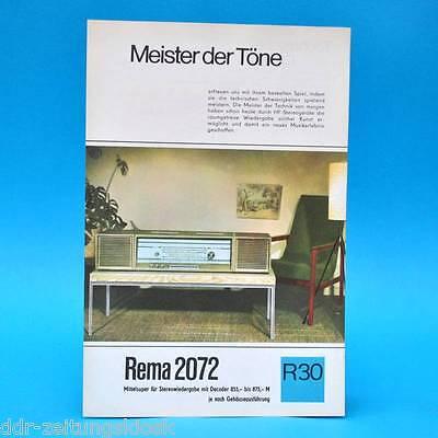 Rema 2072 DDR Mittelsuper 1968   Prospekt Werbung DEWAG Werbeblatt R30 Radio J