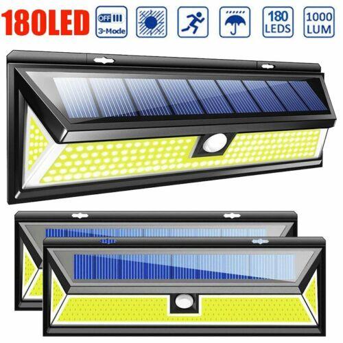 180 LED Solar Power PIR Motion Sensor Wall Light Outdoor Garden Lamp Waterproof