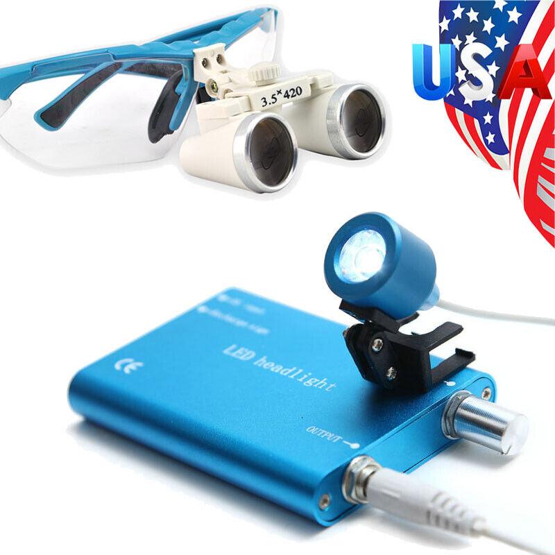 3.5x 420mm Surgical Dental Binocular Loupes Magnification Portable LED Headlight