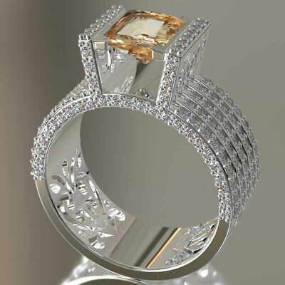 Elegant Women Rings Champagne Topaz 925 Silver Jewelry Wedding Ring Size 6-10 Champagne Stone Ring